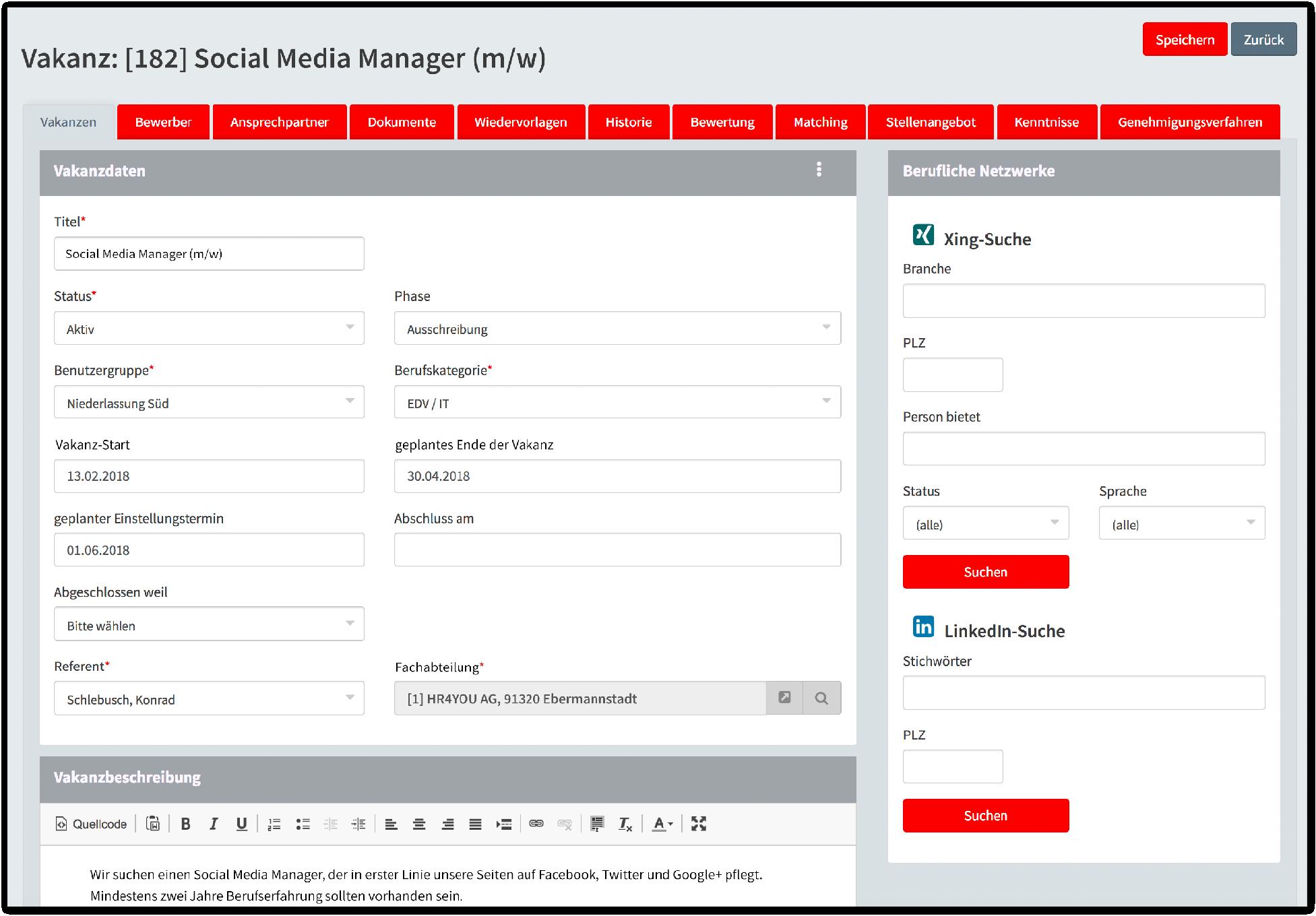 Vakanz: Social Media Manager