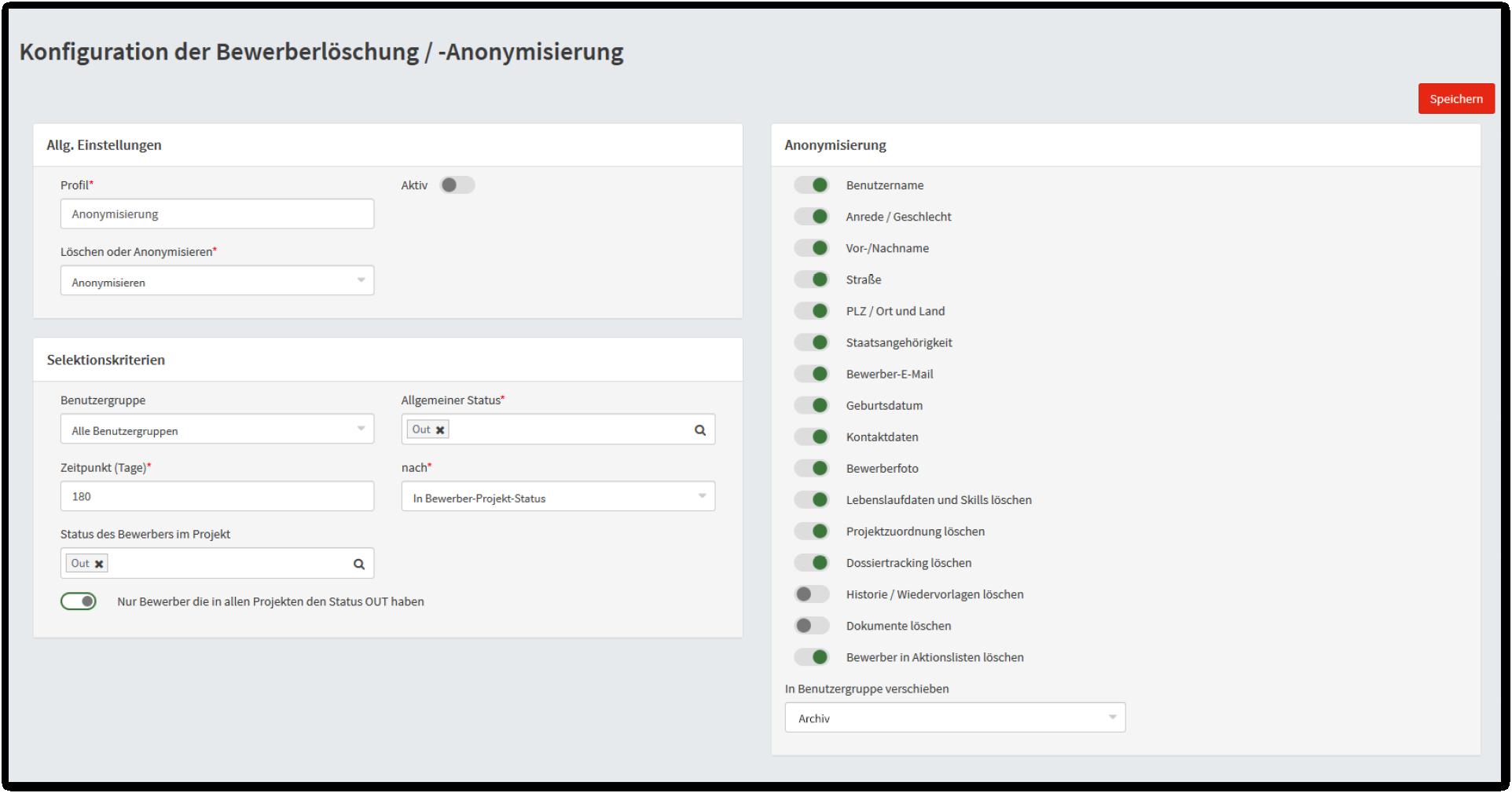 Konfiguration der automatischen Bewerberanonymisierung