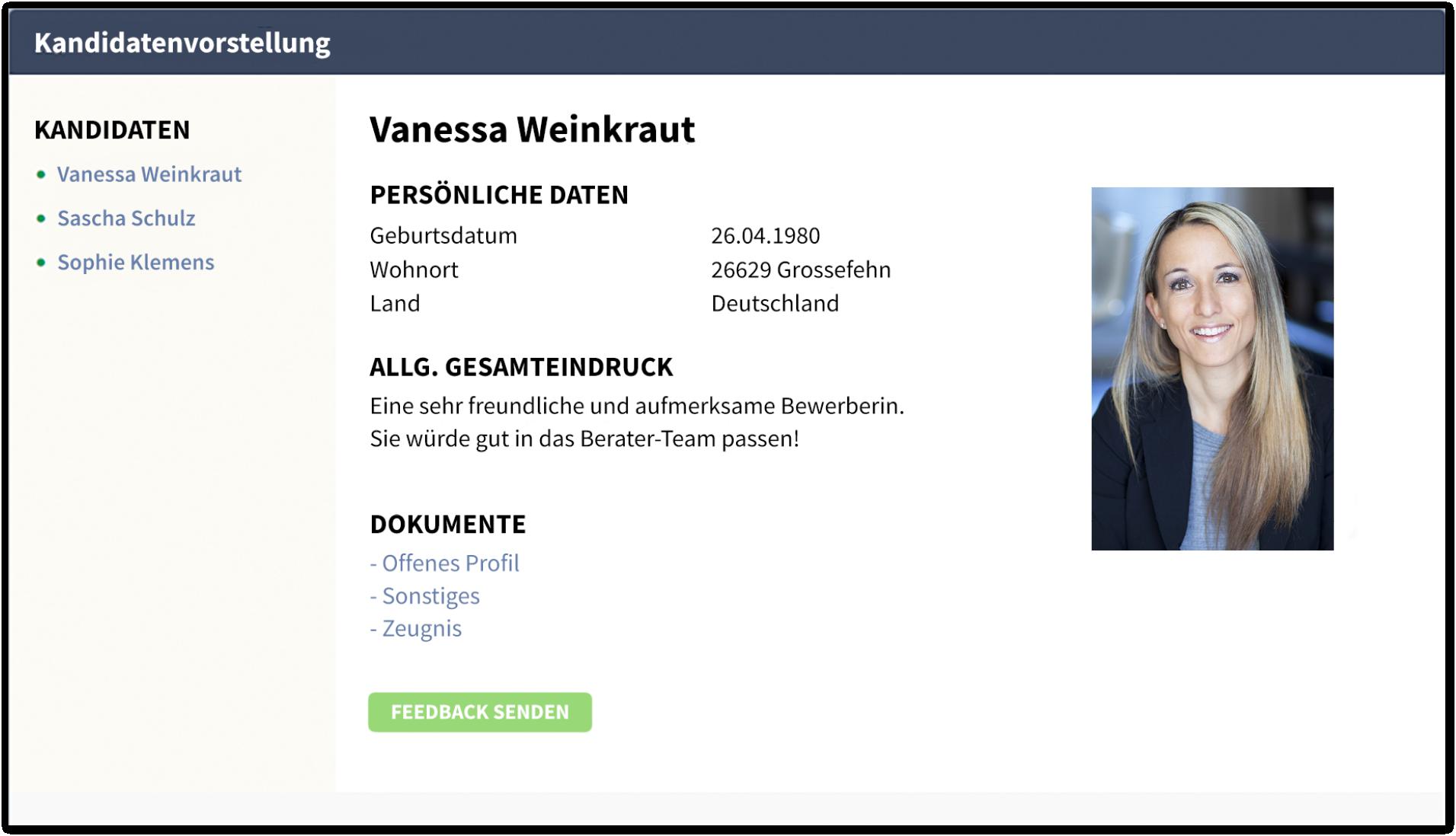 Ansicht eines einzelnen Kandidaten im Profilbuch