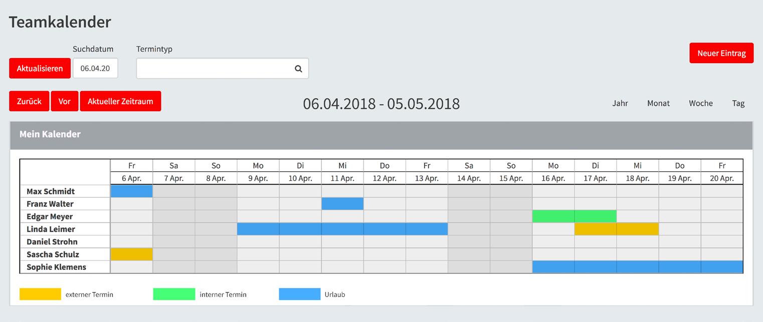 Übersicht der Termine im Teamkalender